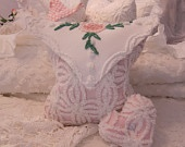 Chenille Cotton Baby Pink eNVELOPE Pillow Cover - Chenille Bedspread - Shabby Chic