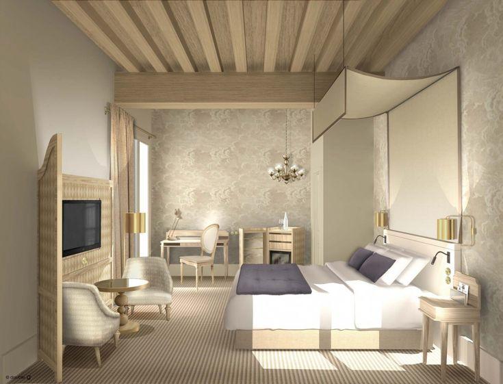 hotel aubusson | hôtels | projets | www.doubleg.fr - papier peint Nuvole de Cole and Son Nuvolette wallpaper clouds bedroom