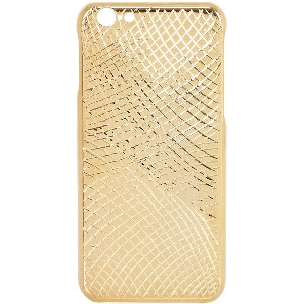 La Mela Luxury Handmade In Italy Women Lizard Gold Pleated Iphone 6/6s... (€245) ❤ liked on Polyvore featuring accessories and gold