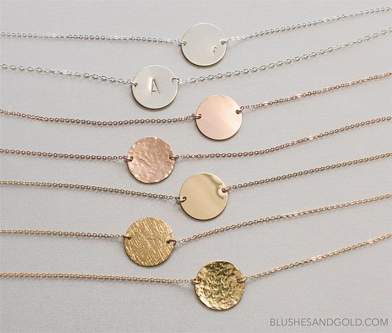 Gold Circle Necklace Personalized Disc Necklace by BlushesAndGold
