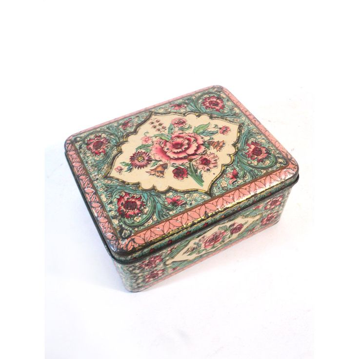French Tin Box, Sweet Box, Candy Box, Storage box, Romantic Scene Box, Red Tin Box, Pink Tin Collectible Box