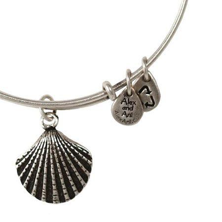 Alex and Ani Seashell Expandable Wire Bangle Russian Silver