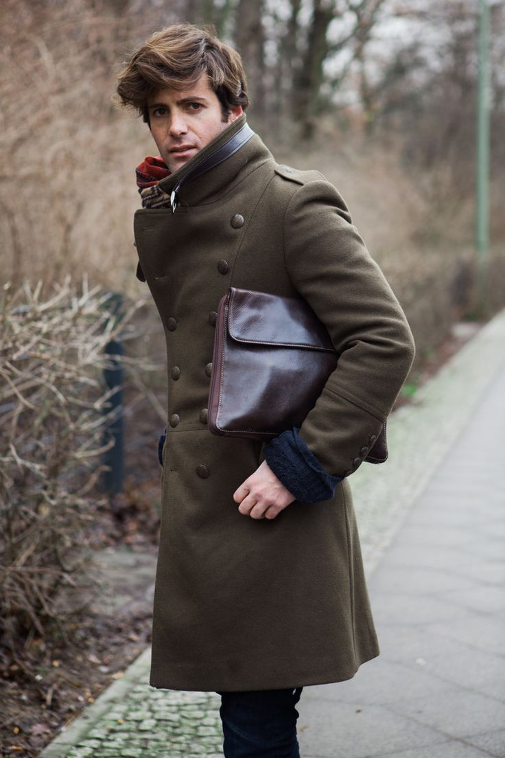 army green felt coat, brown leather envelope clutch ...