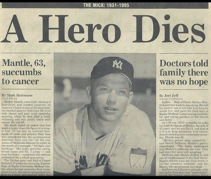 Image result for the death of baseballs mickey mantle