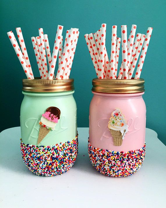 Mint and Pink Ice Cream Party Jars with Sprinkles Summer