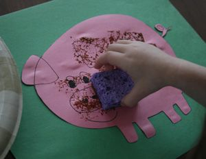 """This is a great idea for children to get dirty! Having cutout animals and letting the children sponge """"mud"""" on them, teaches about how easily and frequently farm animals get messy."""