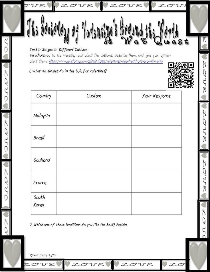 Worksheets For Sociology : Sociology of valentine s day valentines other and