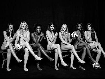 "US Women's Volleyball team in a photo shoot for ESPN Magazine. ""The shoot was meant to show off the results of their rigorous exercise routines.""     THESE are what excellent, athletic, top-performing bodies look like. Notice how different they are from those of malnourished Victoria's Secret Angels. Strong is the new skinny."