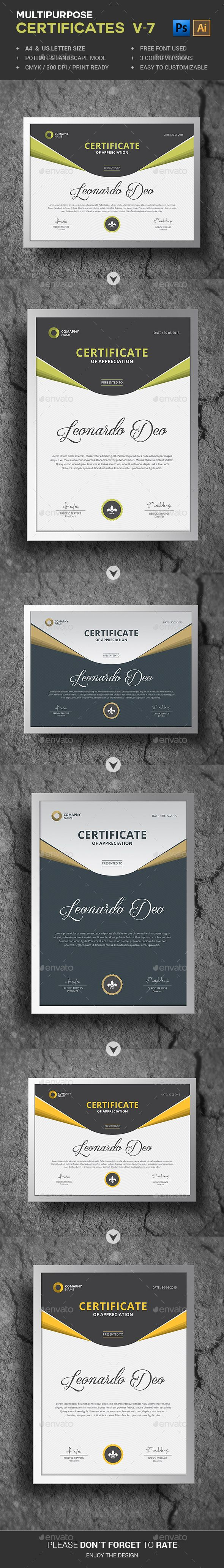 Multipurpose Certificates PSD Template