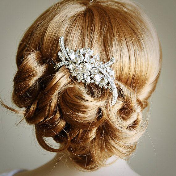 WHITNEY, Bridal Hair Comb, Art Deco Crystal Rhinestone Wedding Hair Comb, Old Hollywood Glamour Wedding Hair Accessories, Tiffany Inspired
