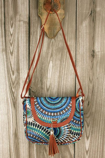 Blue boho print crochet bag