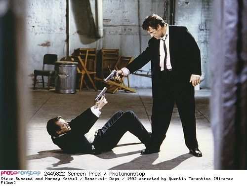 Steve Buscemi and Harvey Keitel / Reservoir Dogs / 1992 directed by Quentin Tarantino [Miramax Films] --  1992 Harvey Keitel Quentin Tarantino Reservoir Dogs Steve Buscemi