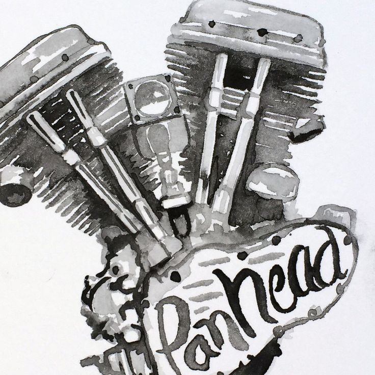 ORIGINAL Painting: Harley Panhead Engine | Motors ...