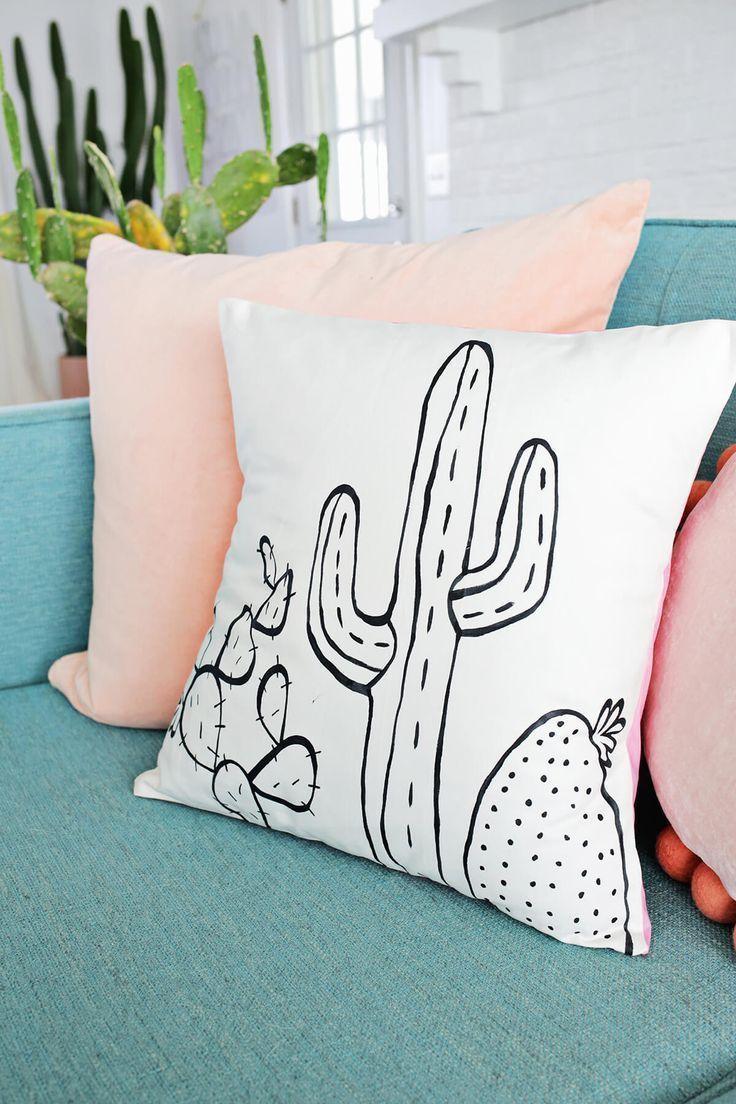 Cactus Outline Pillow DIY A Beautiful
