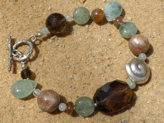 Aquamarine Bracelet Smoky Quartz Sunstone Rutilated by Lapideum