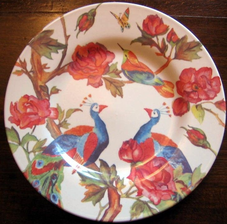 Decorative Dishes - Lush Colorful Peacocks Roses Buds Branches Bird Butterfly Plate, $19.99 (http://www.decorativedishes.net/lush-colorful-peacocks-roses-buds-branches-bird-butterfly-plate/)