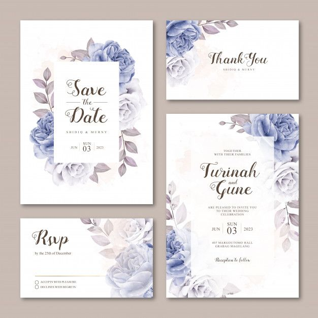 Cute Wedding Invitation Card Template With Roses Watercolor In