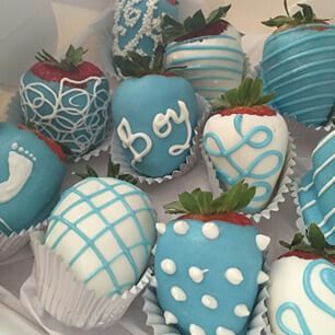Chocolate covered strawberries for boy baby shower
