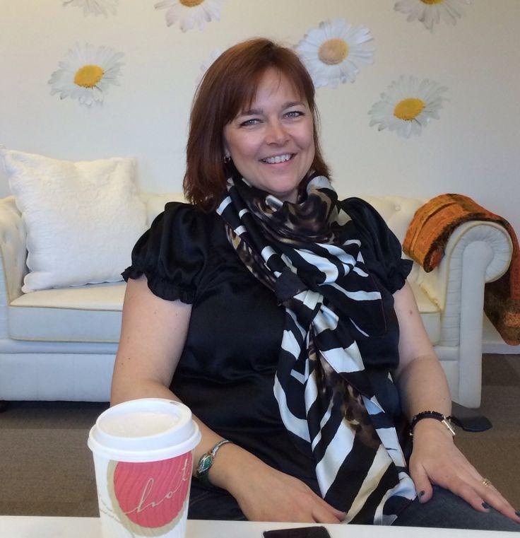 Karin Krogh with silk scarve from CARLEND Cooenhagen.  www.karinkrogh.dk & wee.carlend.dk