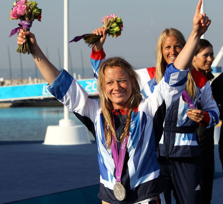 Hannah Mills, Saskia Clark celebrating their silver medal at London 2012 in the sailing competition