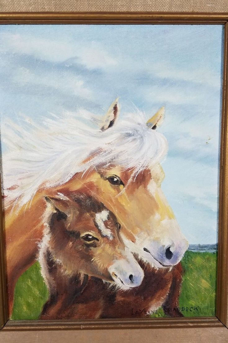vintage Dam and Foal horse painting farm wood framed art | eBay