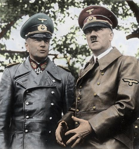 Adolf Hitler with Generalfeldmarschall Walther von Brauchitsch. Brauchitsch & Hitler in Black Leather Trench Coats at Warsaw Parade 1939