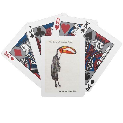 Toucan Kids Art Playing Cards 2007 #savethedate #kids #art