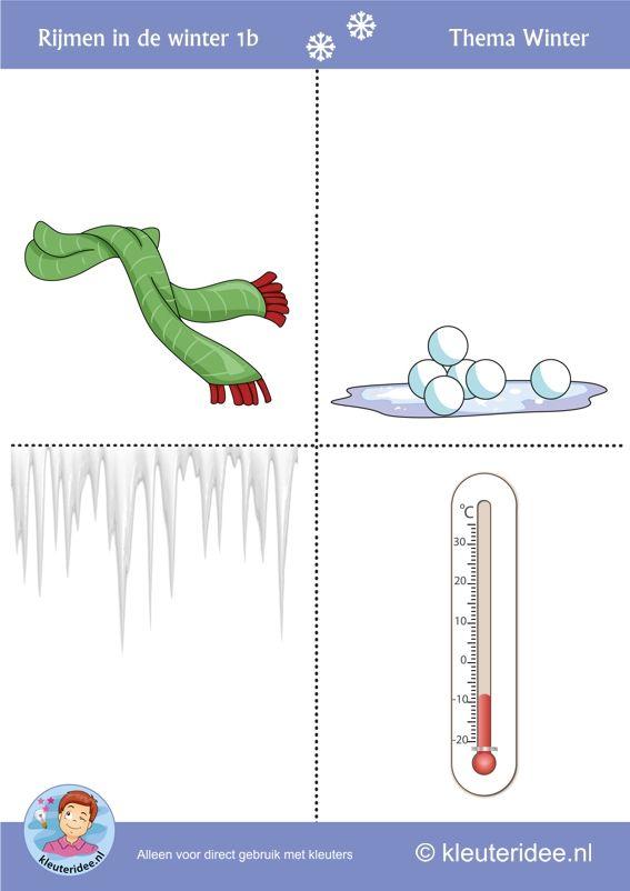 Rijmen in de winter met kleuters 2a, thema winter, juf Petra van kleuteridee, free printable.