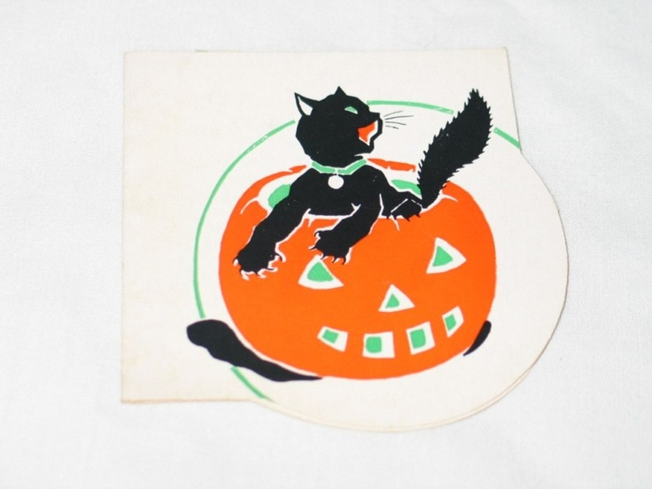 Vintage Gibson Dennison Era Halloween Bridge Tally Card Black Cat in JOL 1920's | eBay