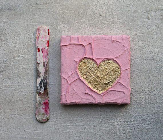 Herz Blattgold Rosa Abstrakte Malerei 10x10x15 cm http://www.giftideascorner.com/valentines-gifts-special-man