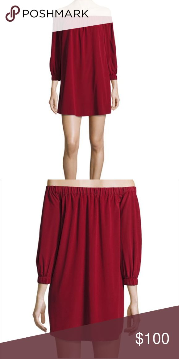 Alice and Olivia dress Desiree off shoulder red dress. Worn a handful of times in great condition ! A Bordeaux color, looks great with tights or over knee boots Alice + Olivia Dresses Mini