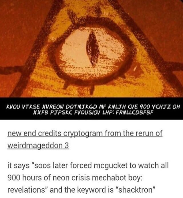 """The last cipher << something tells me that """"neon crisis mechabot boy: revelations"""" translates into Neon Genesis Evangelion. in which case, I salute soos for his taste in anime."""