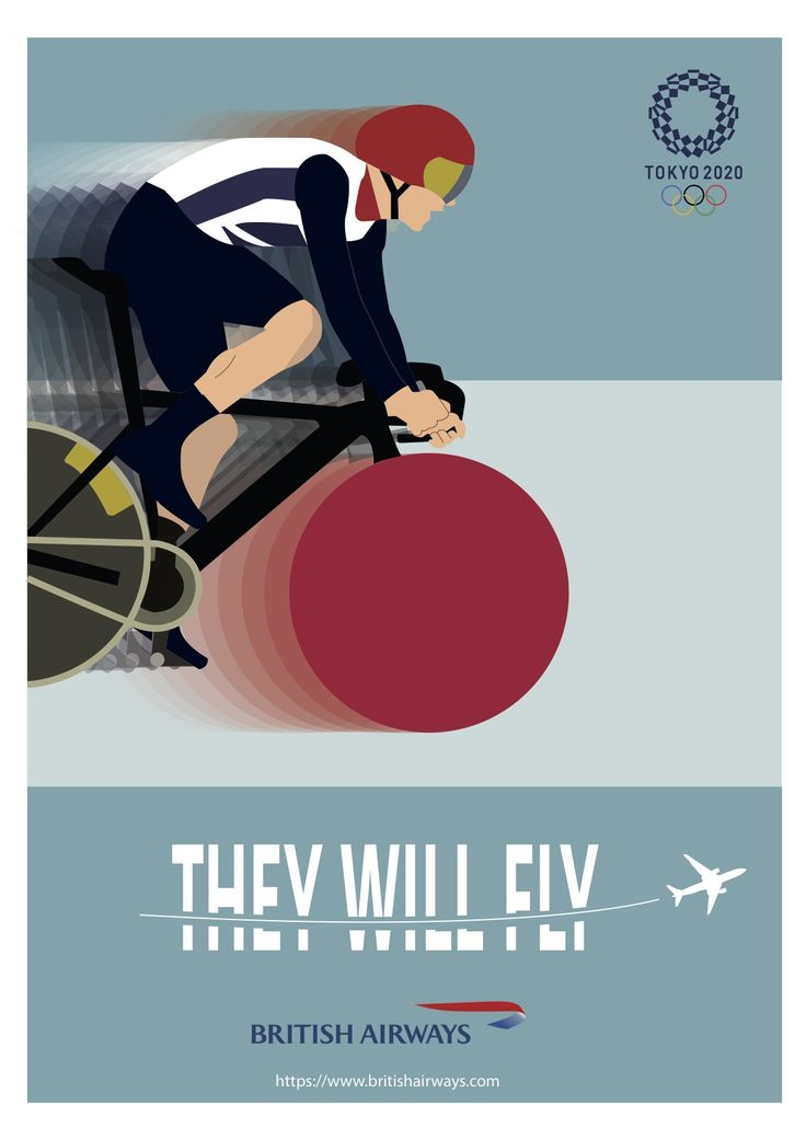 'They will fly' poster design, for British Airways 2020 Tokyo Olympics advertising campaign by Ben White, Esher College