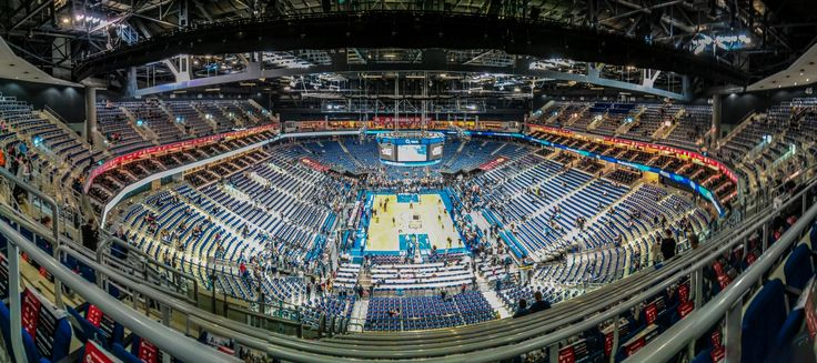 """Robert Emmerich - 2 PAN O2 World with NBA vs. Alba Berlin - Germany - This week we had the NBA with the Global tour in the O2 World Berlin. The basketball game was Alba Berlin vs. San Antonio Spurs. BTW Alba wins with 94:93 in the last second! This panorama was shot 1h before the game at the highest position in the O2 World. The pictures where taken with my good """"old"""" Mobile and sticked together with Photoshop…"""