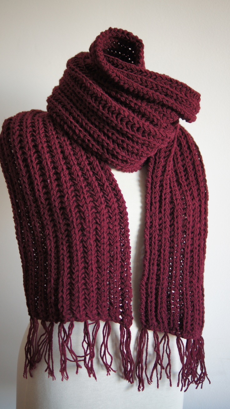 Mens Chunky Knit Scarf for autumn/winter, seen here in burgundy red. Thi...