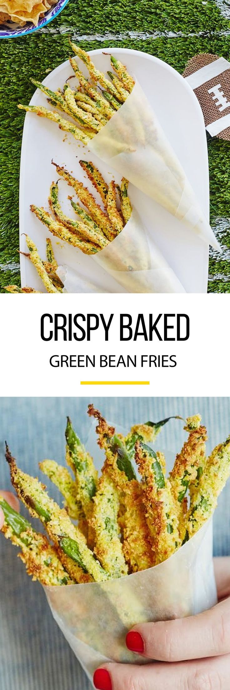 Healthy Oven-Baked Green Bean Fries Recipe. This healthy alternative to potatoes makes a delicious easy, low-carb vegetarian side dish for dinner. Use fresh beans for crispy crunchy fries! Side dishes have never been so good! Also make perfect appetizers or snacks for party food. Try them ASAP!