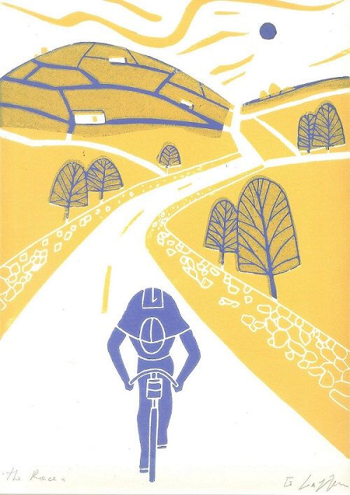 Tour de France - Cycling Art  Linocut Print - Yellow - Yorkshire Tour - Cyclist Linocut - Bicycle Art - Bike - Contemporary  Printmaking Art by TheBluebirdGallery on Etsy https://www.etsy.com/listing/212679226/tour-de-france-cycling-art-linocut-print