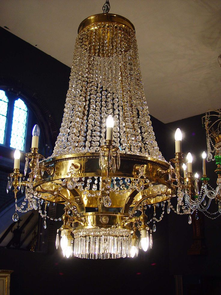 large 12-light gilt brass and crystal glass lustre chandelier in the English Regency manner & 420 best Crystal Empire Chandeliers images on Pinterest | Empire ... azcodes.com