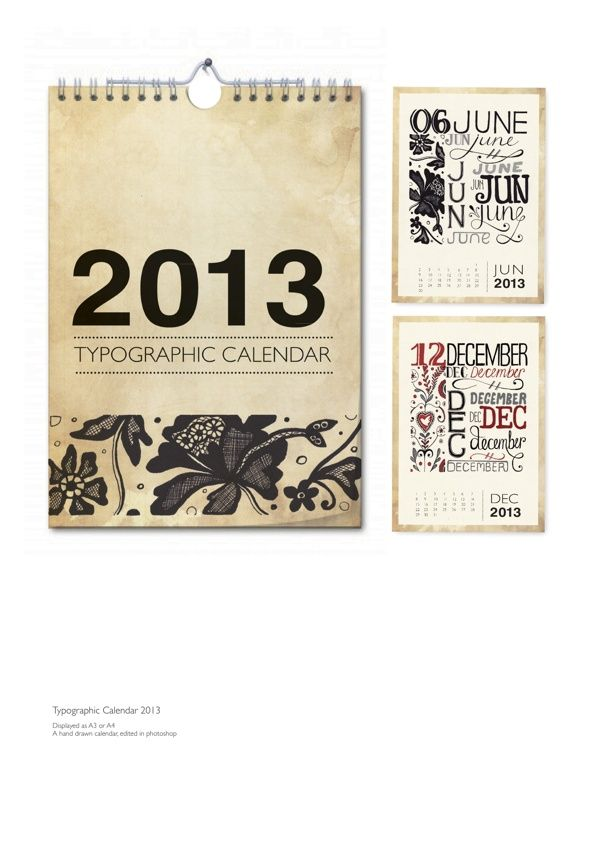 Typographic Calendar by Hayley McMurray, via Behance