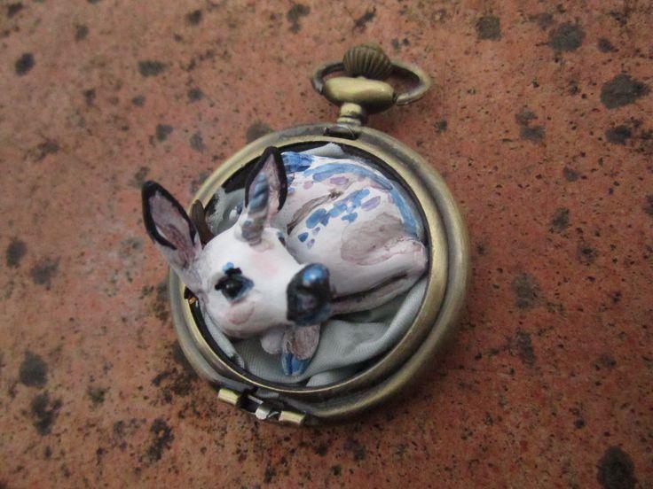 """#handmade #pendant #clay  #unicorn #fawn #poketwatch  #jewelry  """"Cerbiattocorno"""""""