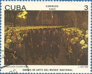 "22-12-11  Briefmarke ‹ Jules Breton. ""Procession in Brittany"""