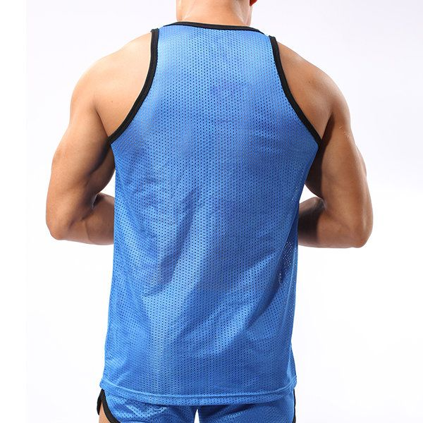 Men's Breathable Sweat Sports Vest Casual Mesh Fitness Running Athletic Tank Tops at Banggood