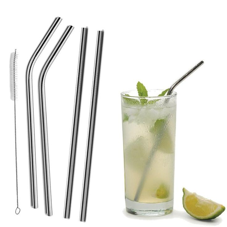4Pcs Reusable Straight / Bent Drinking Stainless Steel Straws With 1 Pc Cleaning Cleaner Brush For Yeti 20 Ounce Tumbler