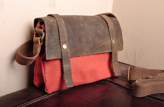 RED TOTE BAG  Genuine Cow Leather Men's leather bag canvas Bag/ leather canvas Briefcase / Messenger bag / Laptop bag /camera bag(131) on Etsy, $39.99