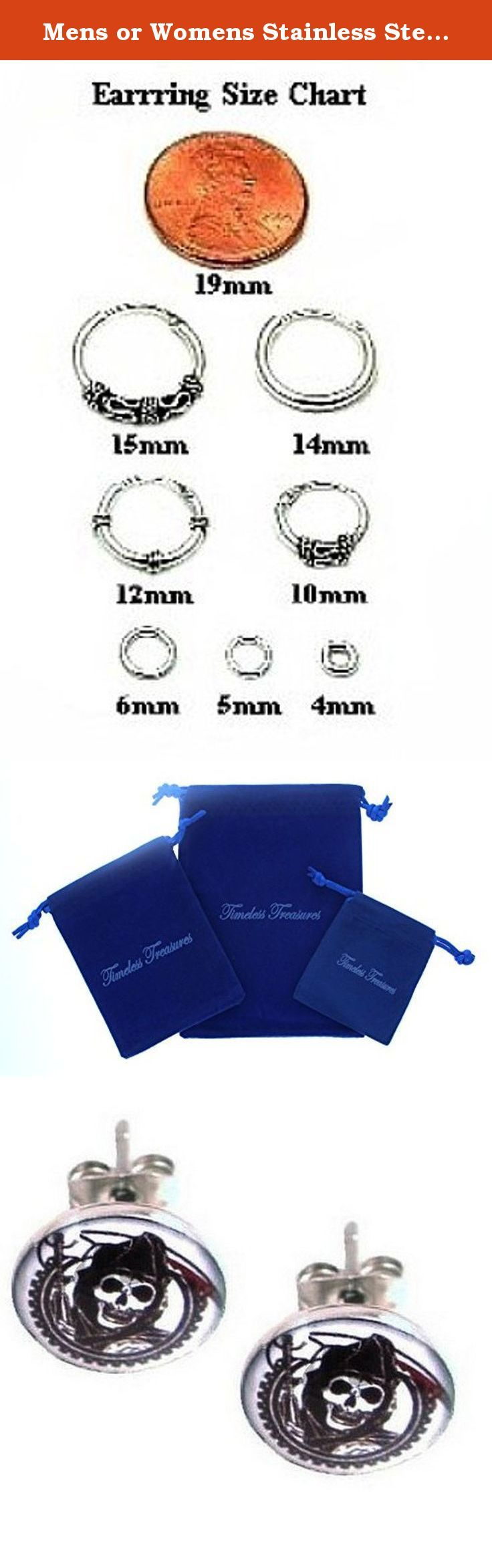 "Mens or Womens Stainless Steel Sons of Anarchy Stud Earrings - 10 mm Diameter (.39""). Stainless Steel Sons of Anarchy Stud Earrings - 10 mm Diameter (.39"")."