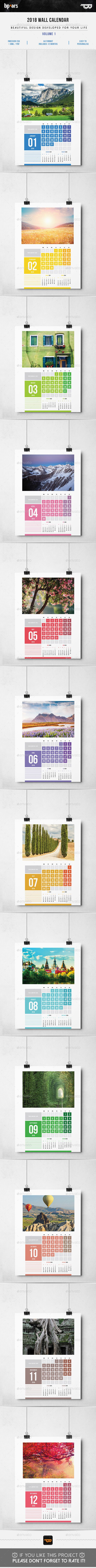Calendars 2018 vol I | Poster Calendars — Photoshop PSD #11x17 #dates • Download ➝ https://graphicriver.net/item/calendars-2018-vol-i-poster-calendars/19713399?ref=pxcr