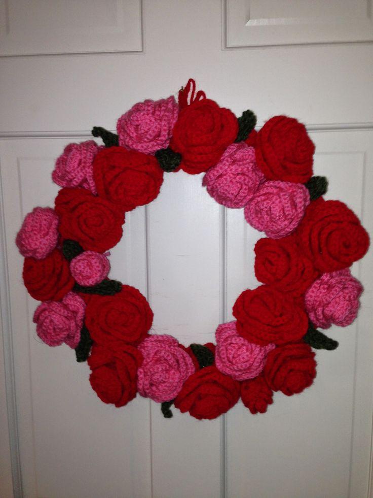 Crocheted Wreath Rose Wreath