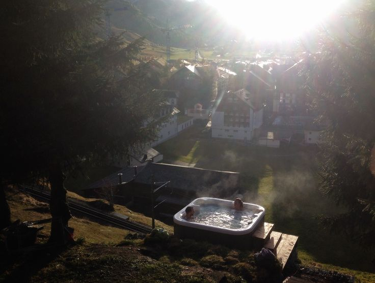 Time to take relax after a hard day in the Mountains. Enjoy the view over the #Andermatt #valley out of the #outdoor #jacuzzi. Ski, #Sauna and #Hottub! Great combination at www.basecamp-andermatt.com