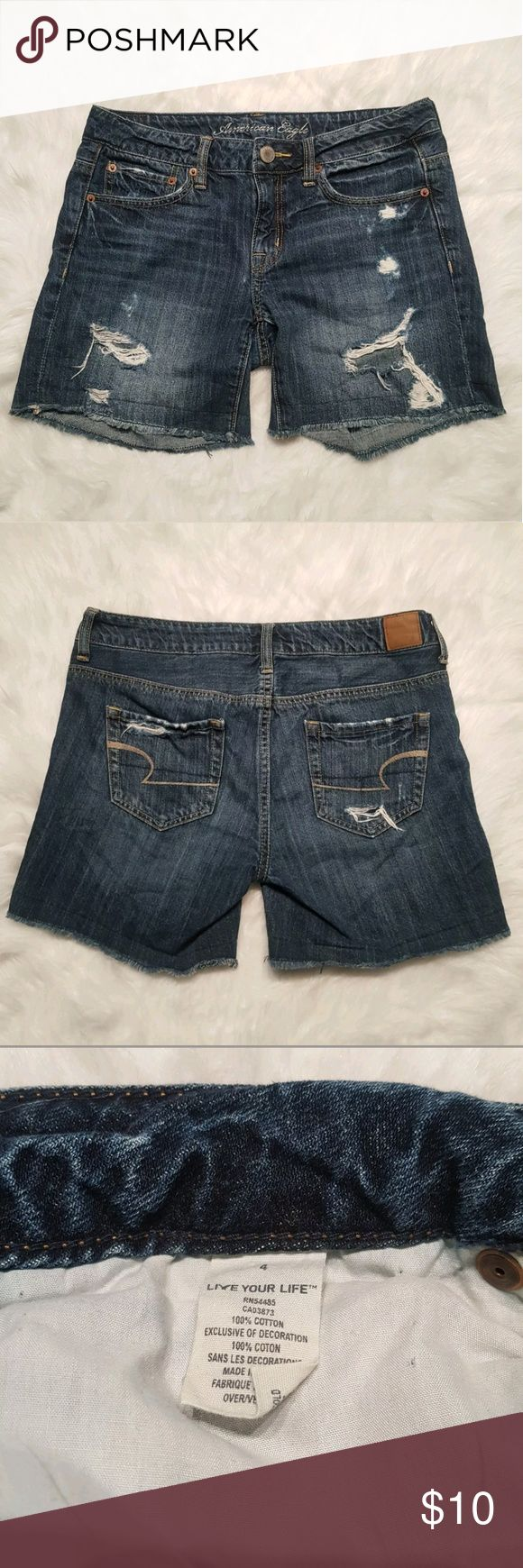 "American Eagle Women's Size 4 Factory Distressed American Eagle Womens Size 4 Bermuda Shorts  Inseam 5"" Rise 8"" Waist 32""  ****Measurements may vary 1/2"" plus or minus ****  Please see pictures for more details!  Thanks for looking! Happy shopping! Shorts Bermudas"