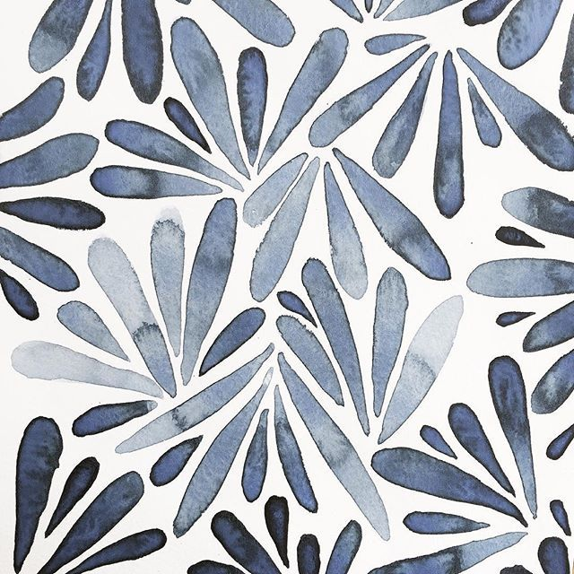 100daysofplantsandleaves Watercolor Pattern Pattern